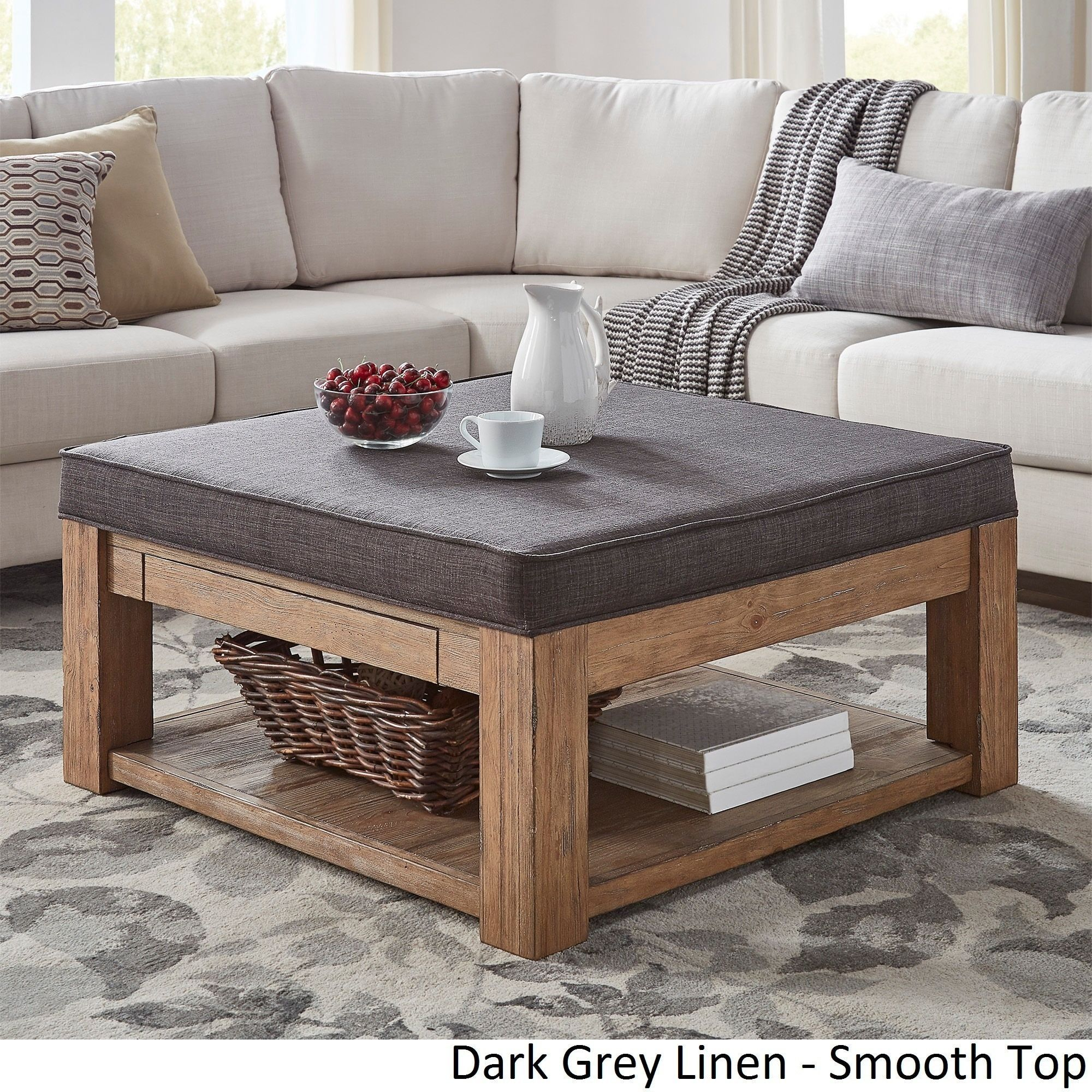 Lennon Pine Square Storage Ottoman Coffee Table by Tribecca Home ...