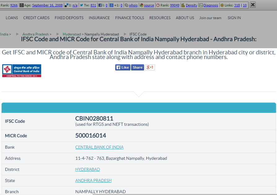Get Ifsc And Micr Code Of Central Bank Of India Nampally Hyderabad Branch In Hyderabad Ifsc Code Cbin0280811 Used For R Central Bank Bank Of India Coding