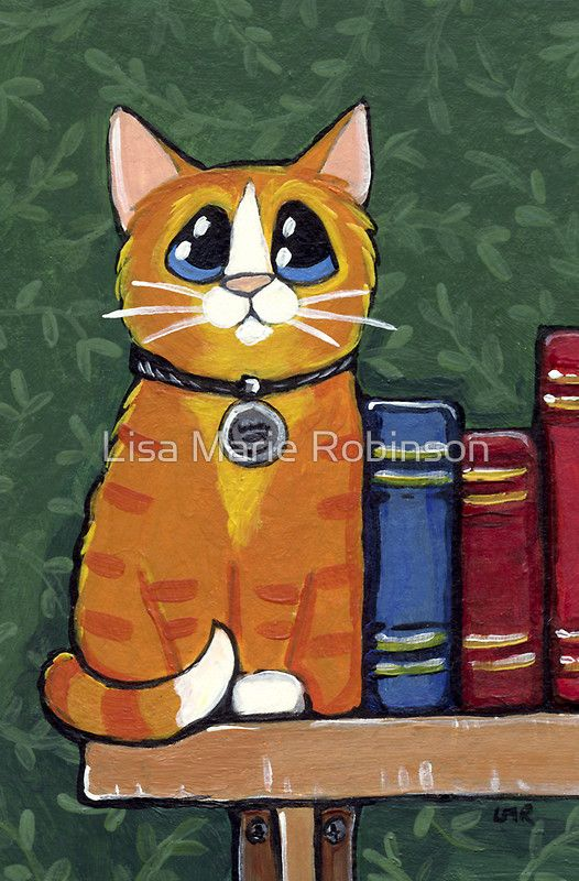 A Ginger Book End Greeting Card by Lisa Marie Robinson
