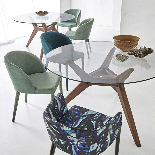 Fauteuil De Salle à Manger Design: Table Ronde Verre/noyer Ø130 Cm, Maricielo