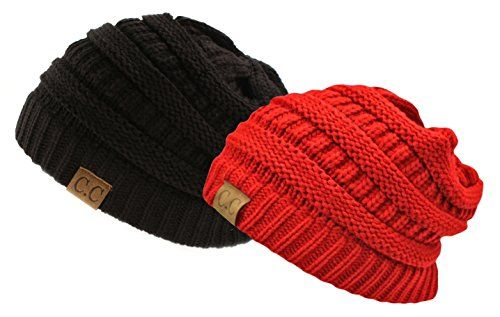Trendy Warm Chunky Soft Stretch Cable Knit Slouchy Beanie Skully HAT20A,One Size,Gift Set-Black & Red NYfashion101 http://www.amazon.com/dp/B00OV0X5PC/ref=cm_sw_r_pi_dp_Xmq4vb0XRXF9E