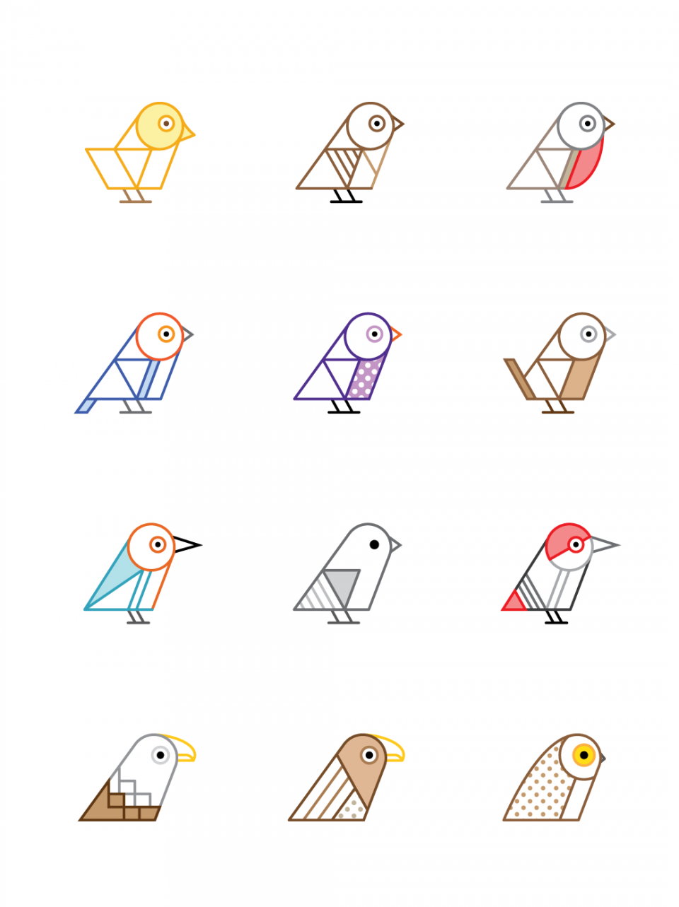 birds of britain geometric illustration icons idėjos pinterest