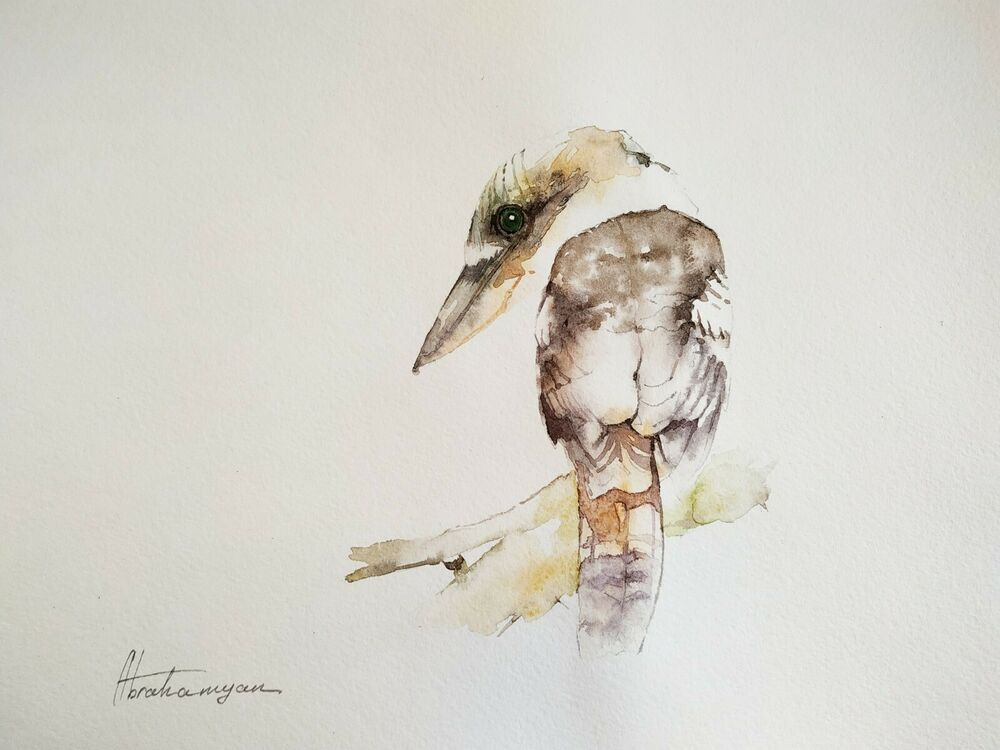 Kingfisher, Birds, Watercolor artwork, Handmade, Original painting on paper #Realism