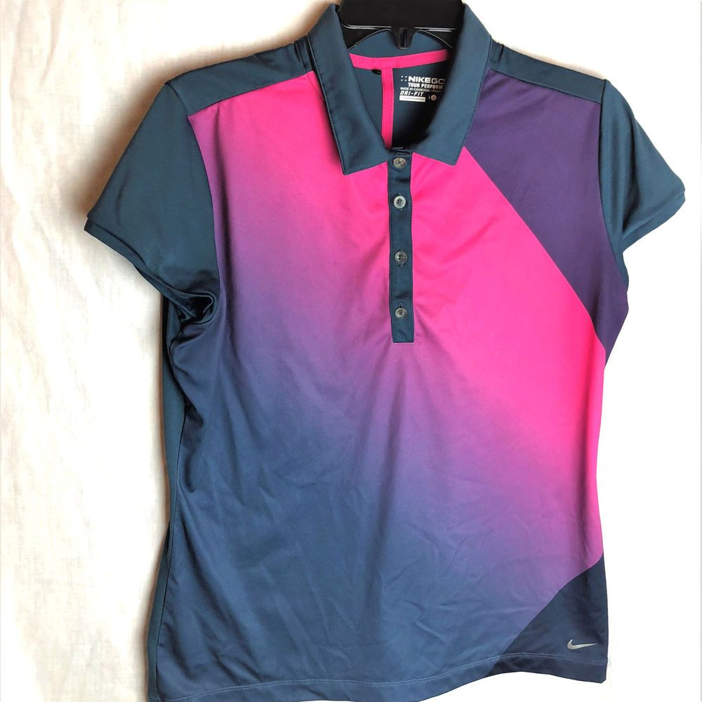 Nike drifit golf polo shirt size large womens pink blue