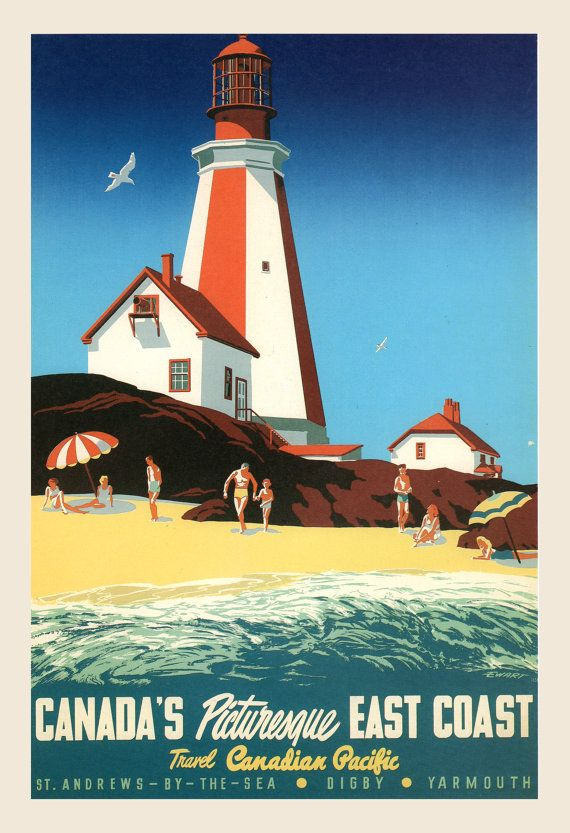 Vintage Canada Canadian Travel Advertisement Poster 1930s Vancouver Island B.C