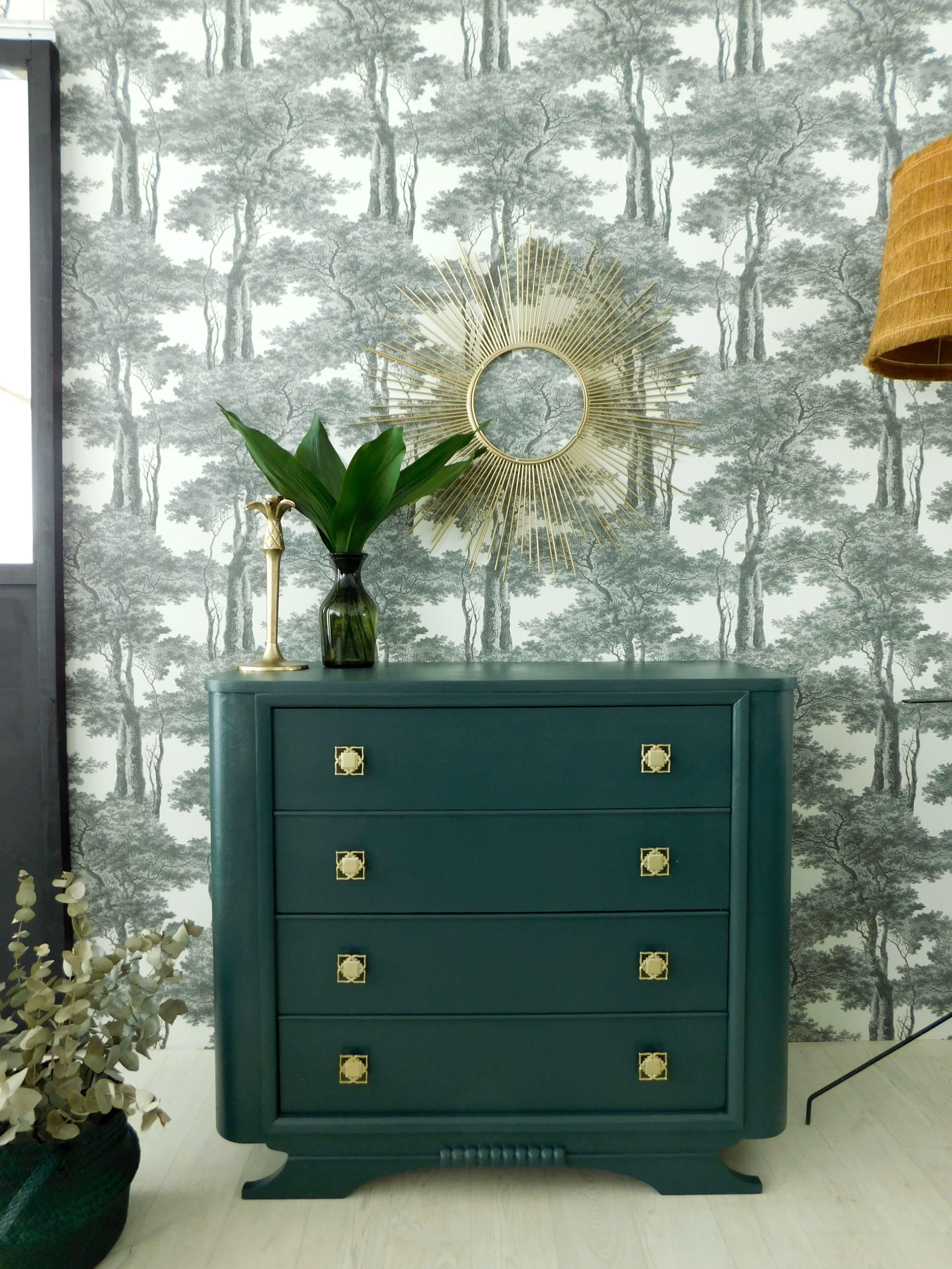Commode Vintage Art Deco Renovee En Vert Profond Commode