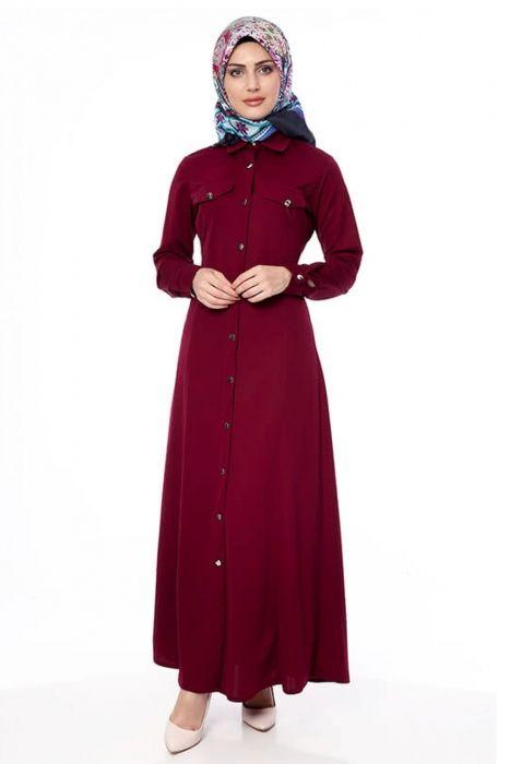 49907b770bedf Uzun Tesettür Elbise Bordo Boydan Düğmeli | modaroyalcom | Dresses ...