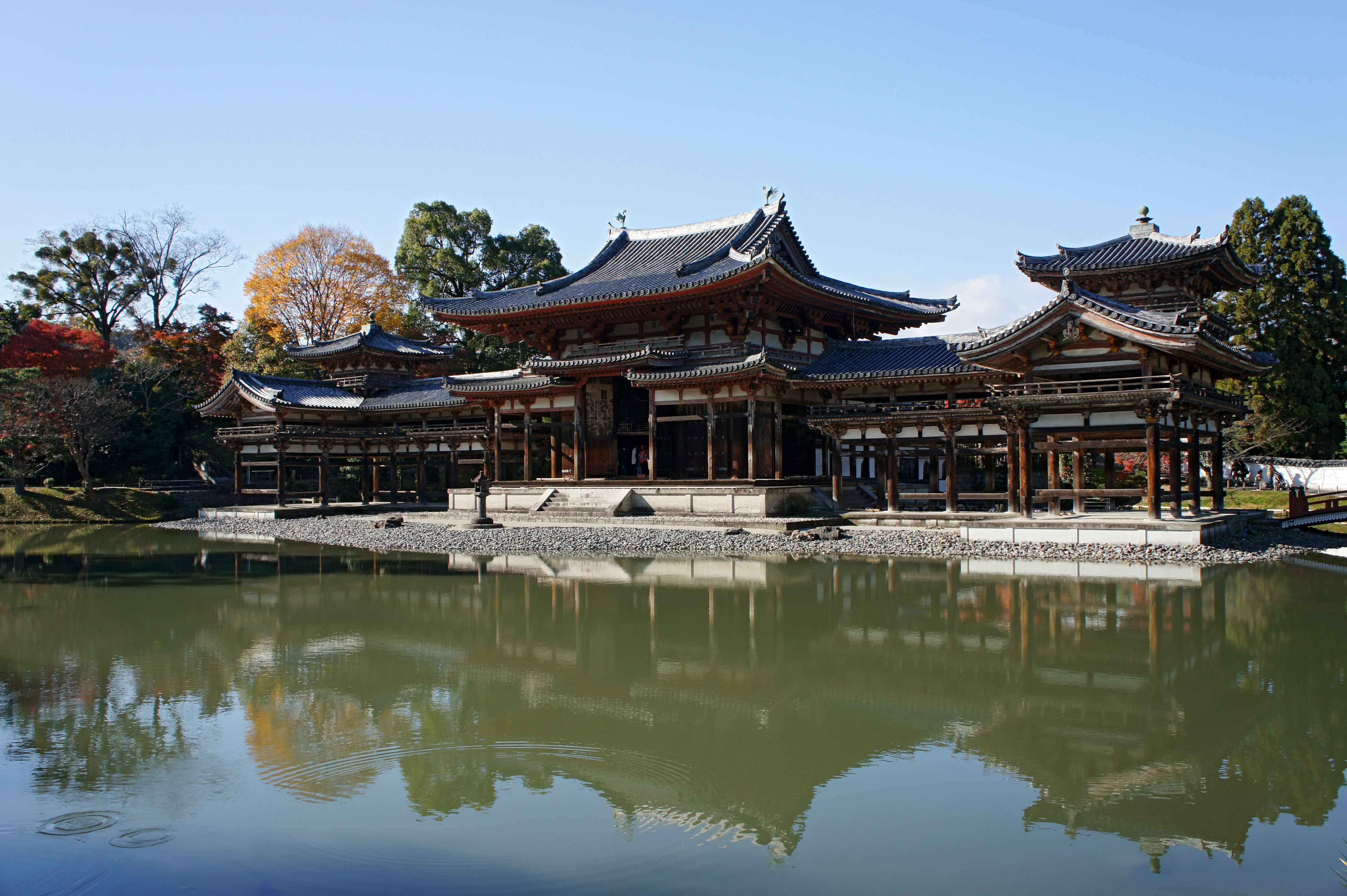 Phoenix Hall in the garden of Byōdō-in, Kyoto, is a temple ...