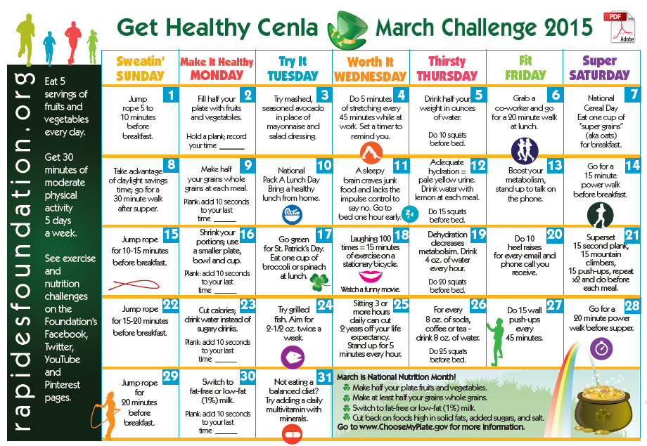 Here's the March Challenge Calendar! March is National ...