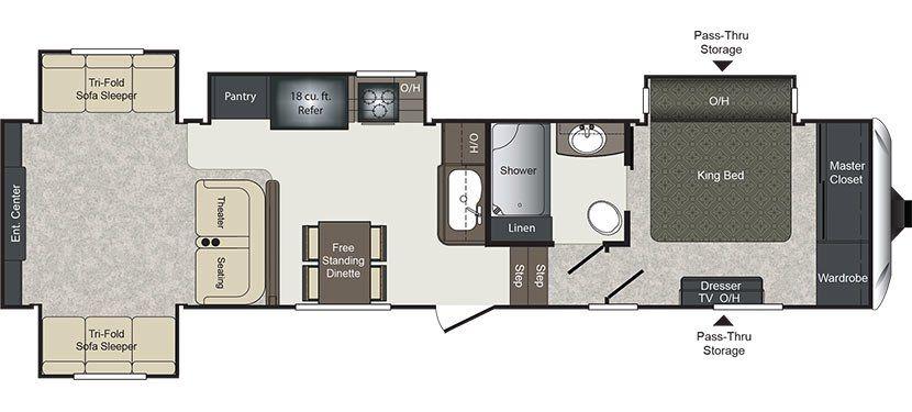 Floorplan image of Keystone Laredo model 342RD.