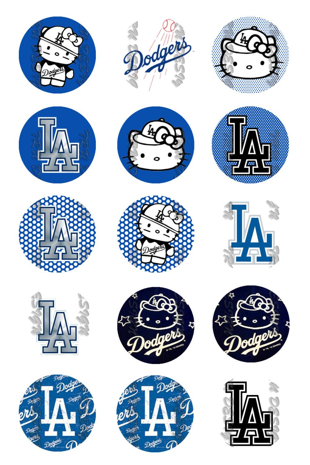La Dodgers Hello Kitty 1 Round Digital Bottle By Trudesigntorres
