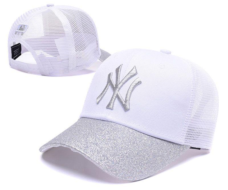 2953f6061d711 Men s   Women s New York Yankees Silver Shimmer Shine Visor Mesh Back  Trucker Baseball Adjustable Hat - White   Silver