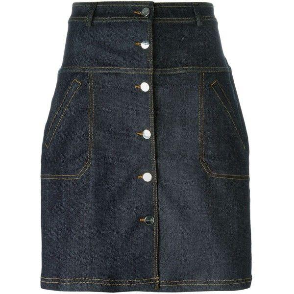 Carven Buttoned Denim Skirt (715 BRL) via Polyvore featuring skirts, blue, blue denim skirt, button skirt, denim button skirt, carven skirt and denim skirt