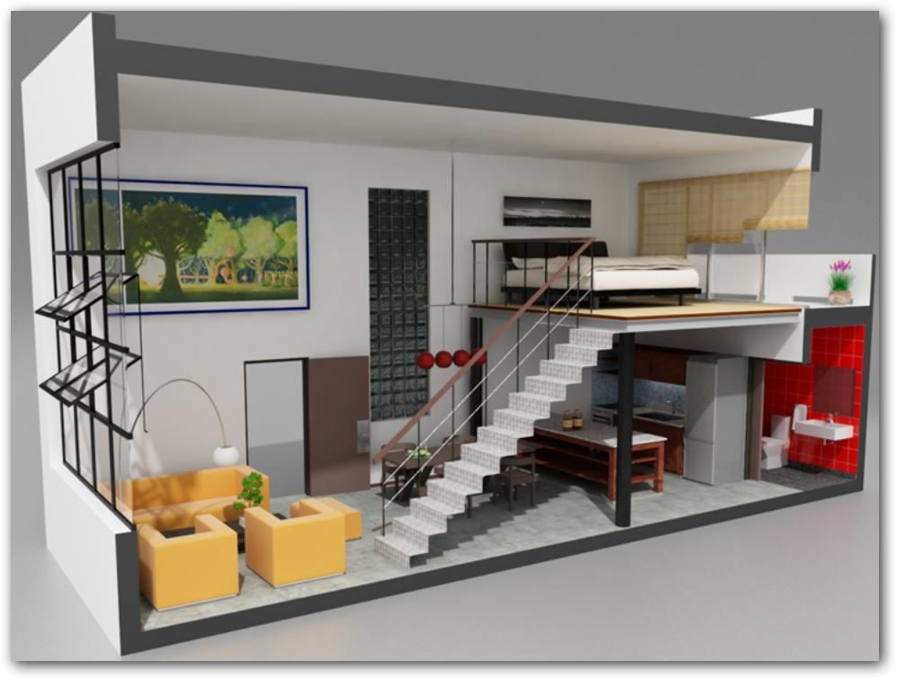 Plano de loft 3d pinteres for Ideas para departamentos