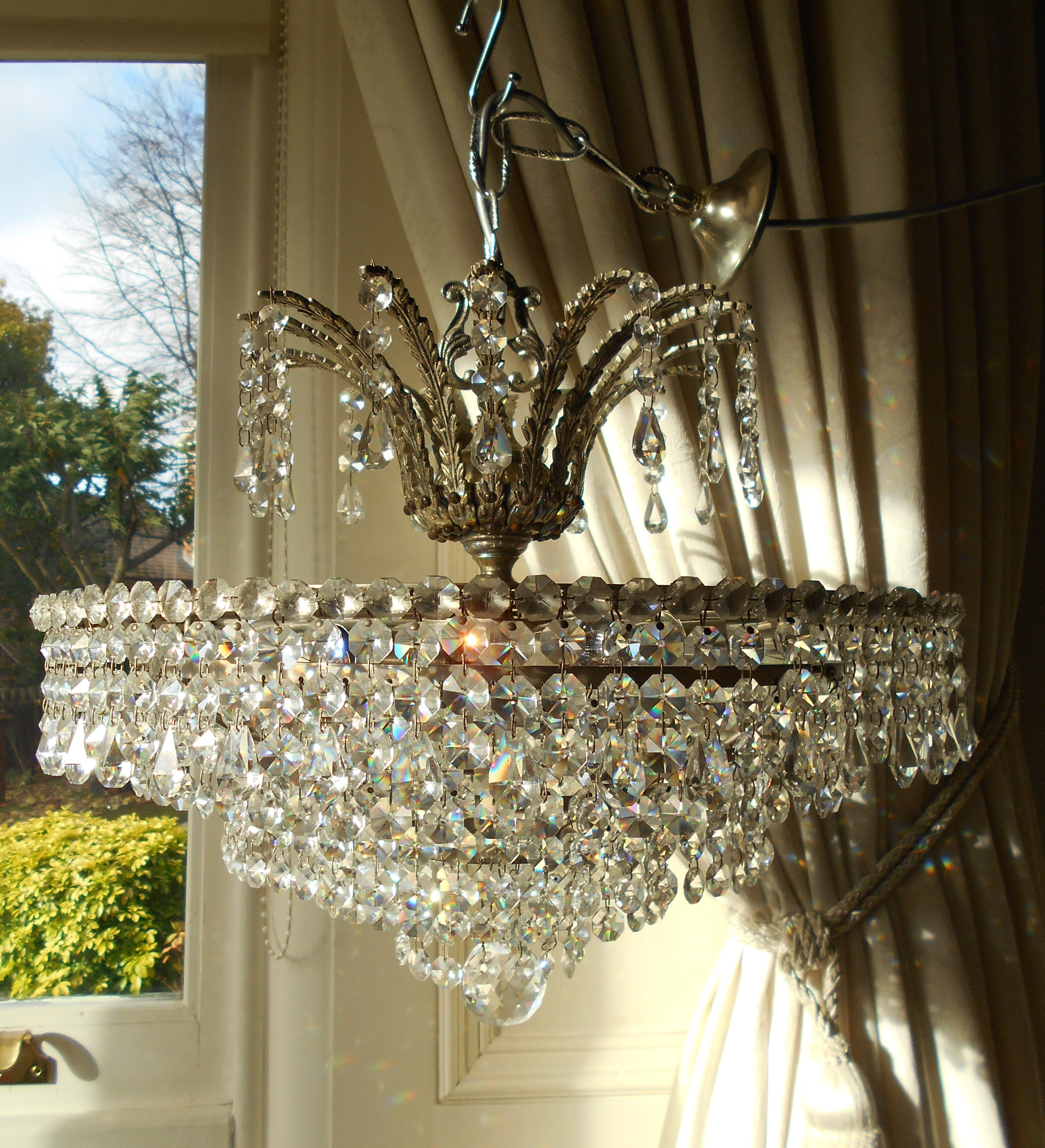Vintage 6 tier lead crystal silver chandelier light me up vintage 6 tier lead crystal silver chandelier mozeypictures Gallery