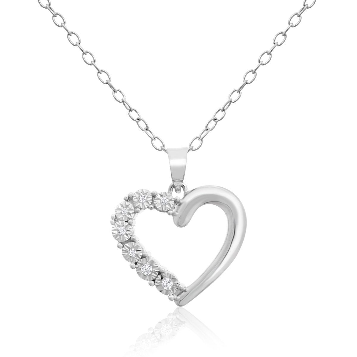 0a5d6f7adcf2f Sterling Silver 0.04 Carat Diamond Heart Necklace (IGI Certified H-I ...