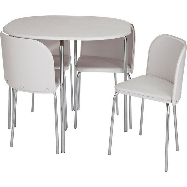 Buy Argos Home Amparo White Dining Table 4 White Chairs Dining Table And Chair Sets With Images Round Table And Chairs Grey Dining Tables Gray Dining Chairs