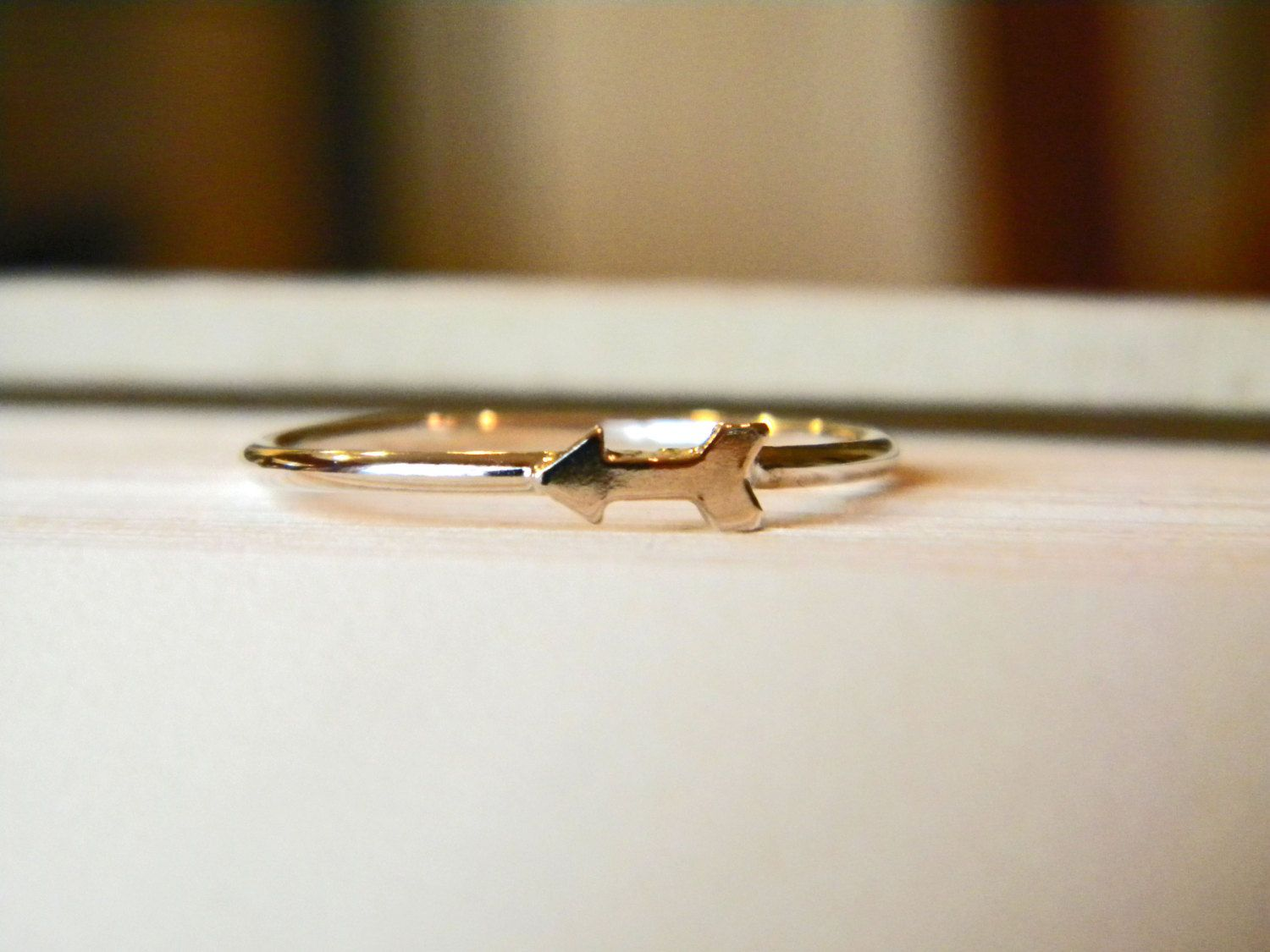 Silver band ring, silver arrow ring, silver stacking ring