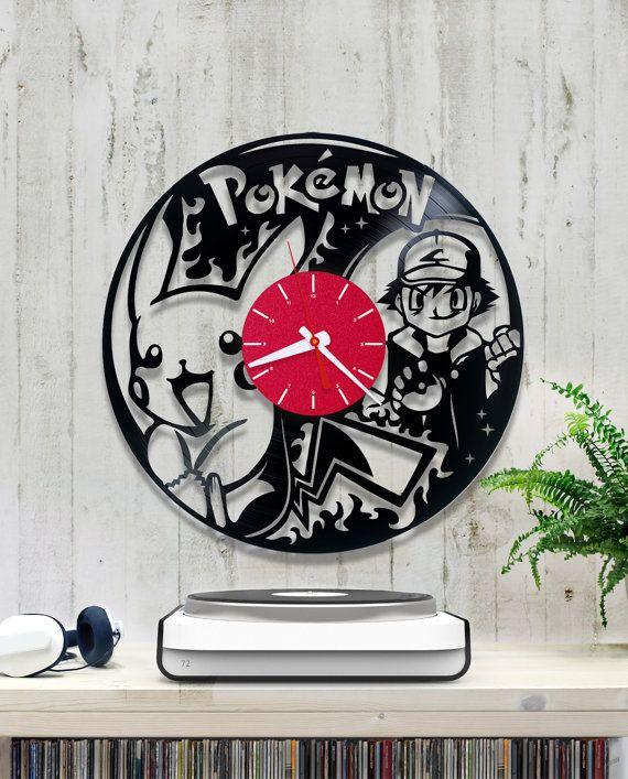 Pikachu Vinyl Clock Pokemon Wall Clock V343 Vinyl Record