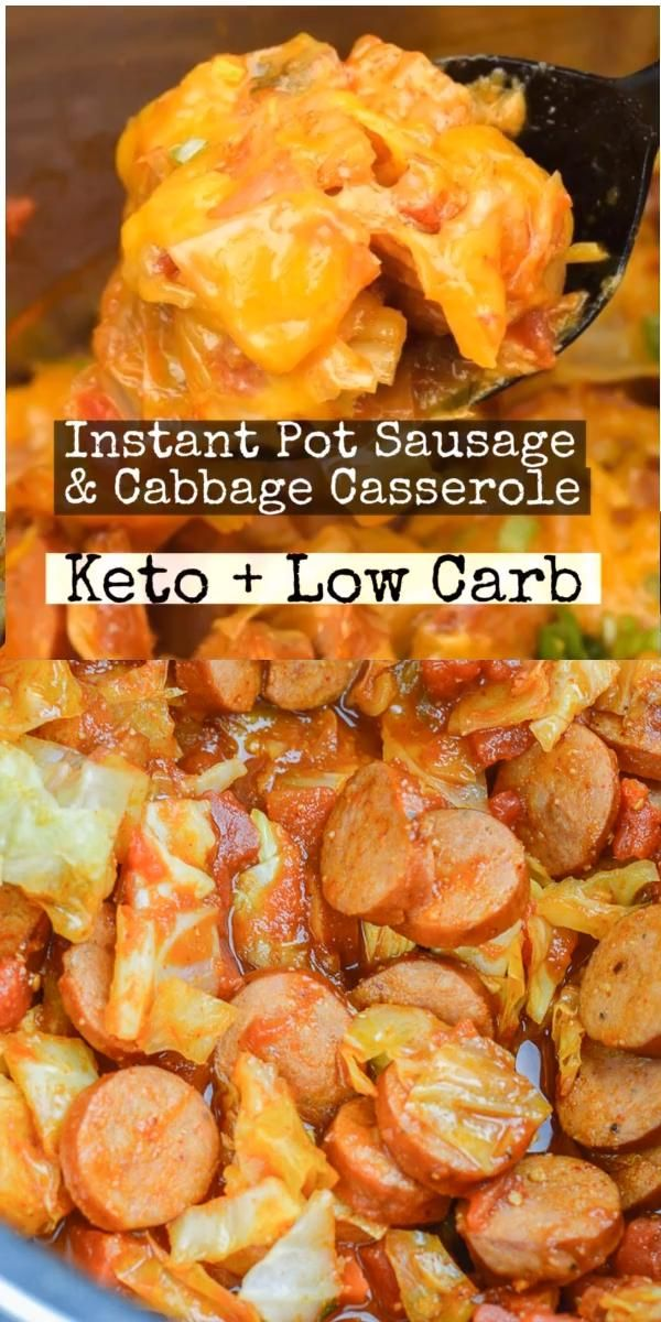 This Instant Pot Sausage and Cabbage Casserole is an excellent low carb dinner, at about 5 net carbs per serving this is the perfect keto comfort food!   #instantpot #keto #sausage