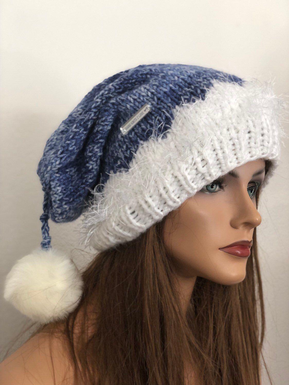 909a4d64 ... my #etsy shop: Hand Knits 2 Love Hat Slouch Beanie Cap Beret Tam  Designer Fashion White Wash Denim Blues Winter Snow Trendy Hip Pom Pom  Christmas Gift