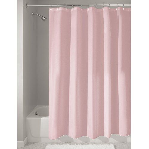 InterDesign Mildew-Free Water-Repellent Fabric Shower Curtain, 72-Inch by 72-Inch, Pink