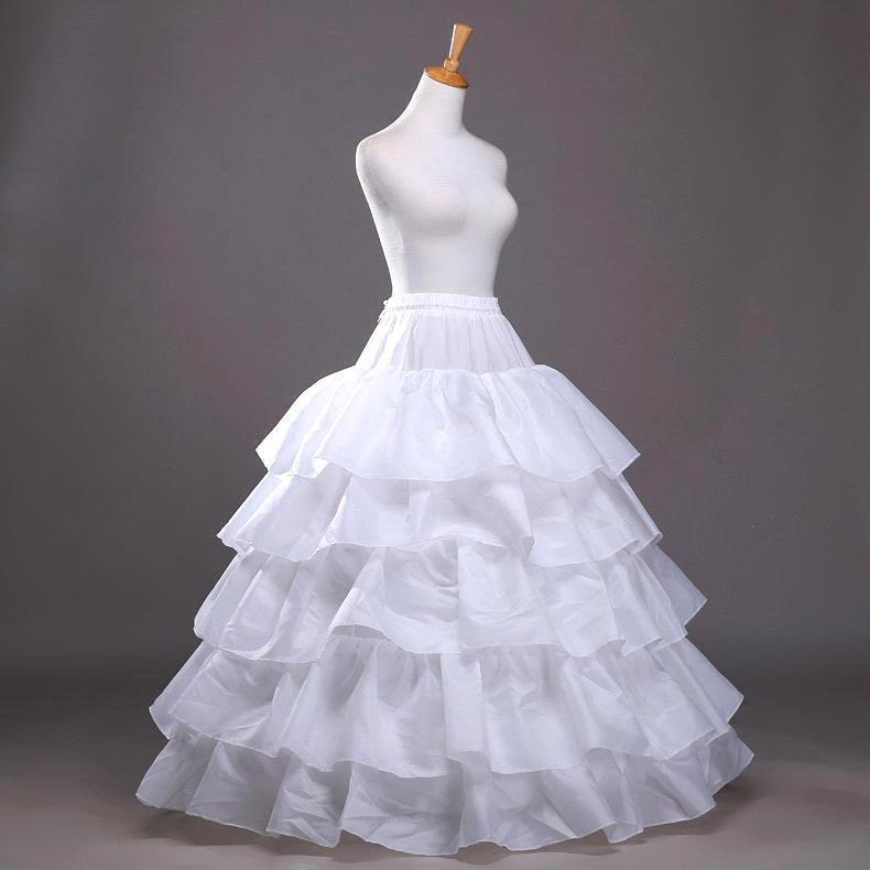 4 Hoops 5 Layers Ball Gown Black Petticoat Crinoline Big Ruffle Wedding Accessories Tulle Underskirts