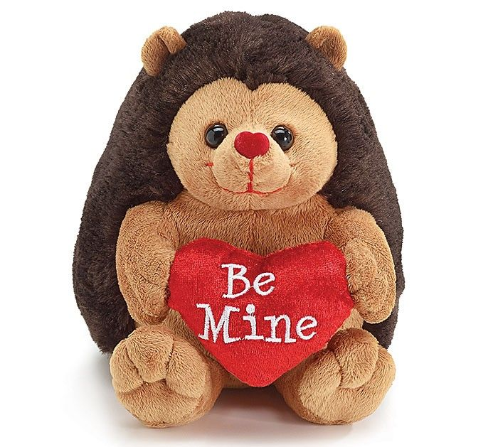 "be mine"" brown plush moe hedgehog 7.5"" - valentine's day heart, Ideas"