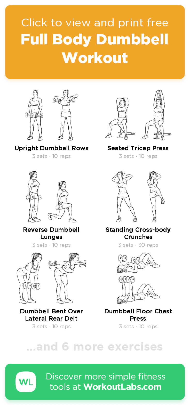 Full Body Dumbbell Workout · Free workout by WorkoutLabs Fit