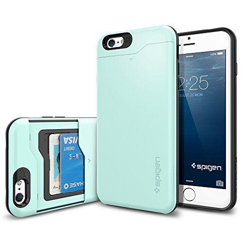 Iphone 6 Plus Case Spigen Card Holder Iphone 6 Plus 5 5 Case Wallet Slim Armor Cs Mint With C Iphone 6 Plus Case Spigen Iphone Phone Case Accessories