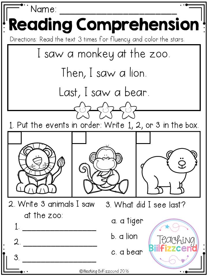 FREE Kindergarten Reading Comprehension (SET 3) Lectura