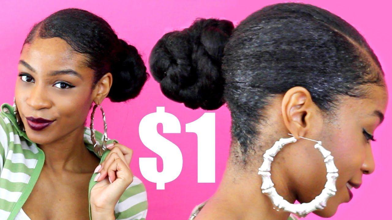 Low Deep Side Part Braided Bun With Kanekalon Hair Natural Hair Protect Kanekalon Hairstyles Natural Hair Bun Styles Natural Hair Styles