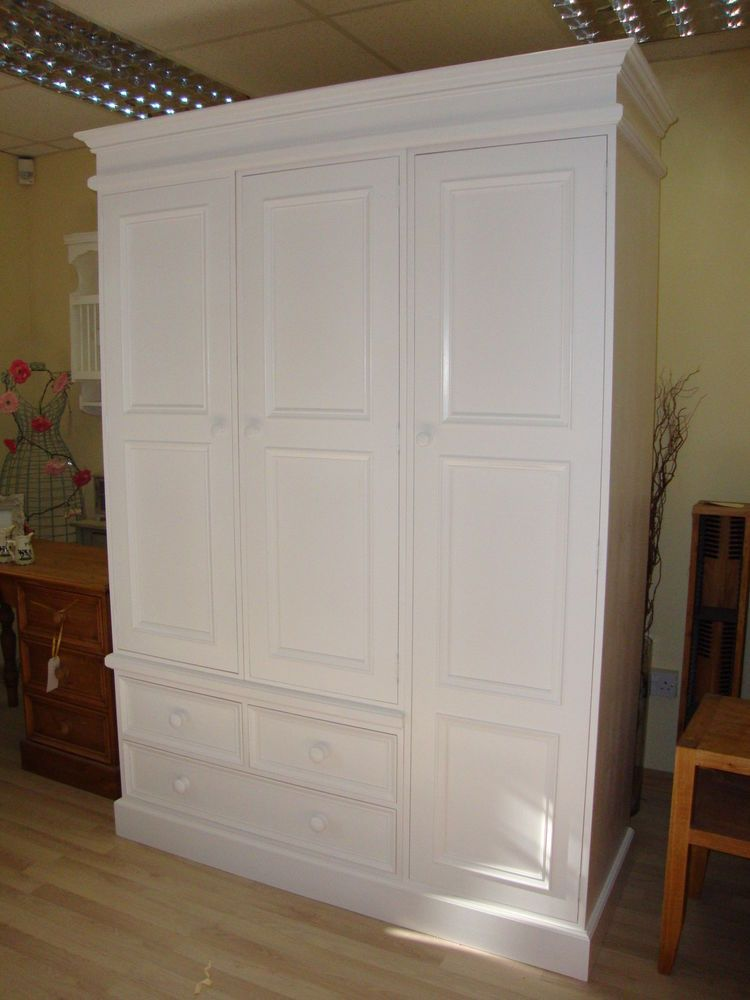 Solid Pine Large 3 Door Triple Handmade White Painted
