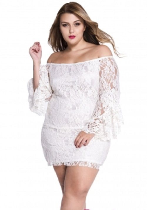 Plus Size White Lace Off The Shoulder Mini Casual Beach Dress 2x Mini Dress Lace Dress With Sleeves Plus Size Lace Dress