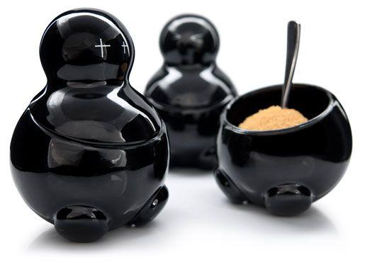 Contemporary Unusual Tea Coffee Sugar Jars