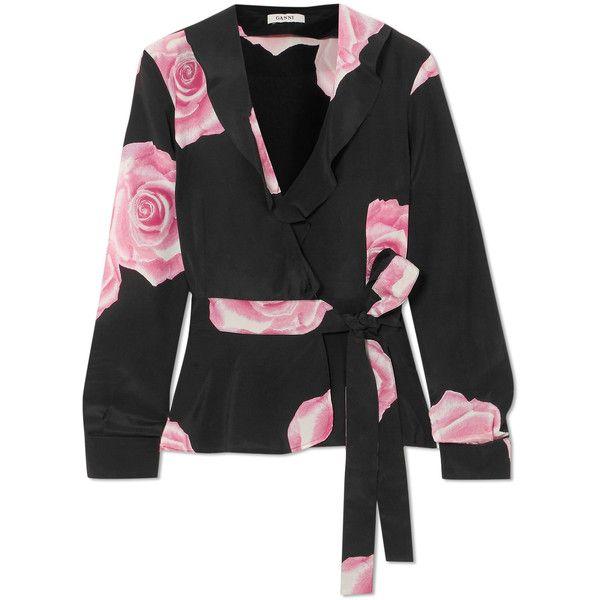 Ruffled Floral-print Silk Crepe De Chine Wrap Top - Black Ganni 728YTxWPgg