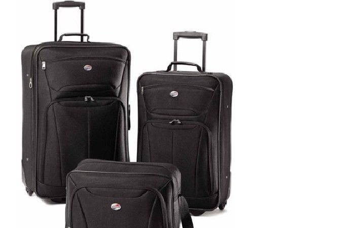 3-Piece Luggage Set American Tourister Ultra Lightweight Construction Black