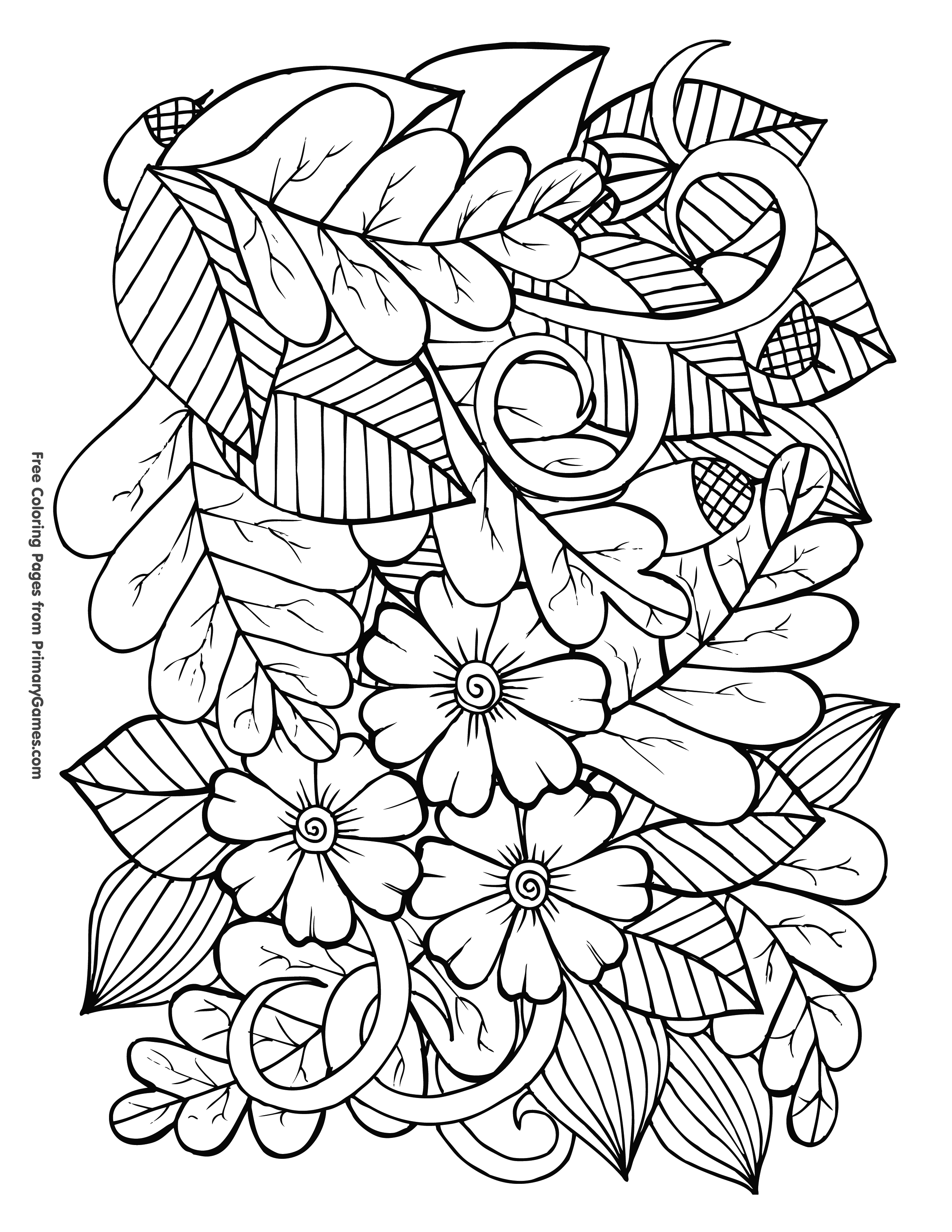 Leaves And Acorns Coloring Page Free Printable Ebook