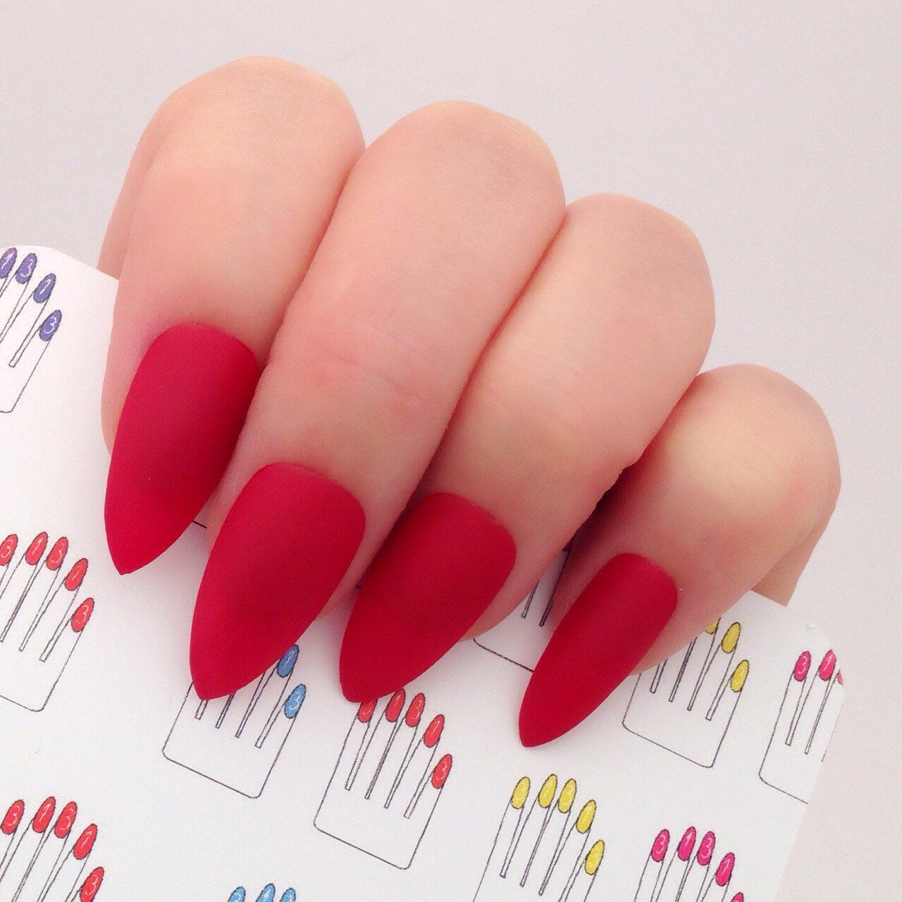 Set of 20 Pcs Matte Red Hand Painted Nail Tips / Press On / Stick On ...