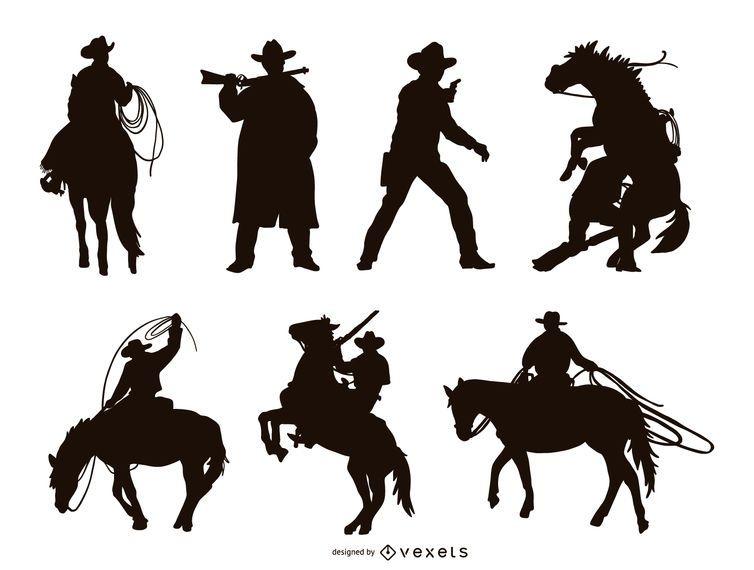 Cowboy Silhouette Set Ad Spon Aff Set Silhouette Cowboy Graphic Resources Background Design Graphic Image