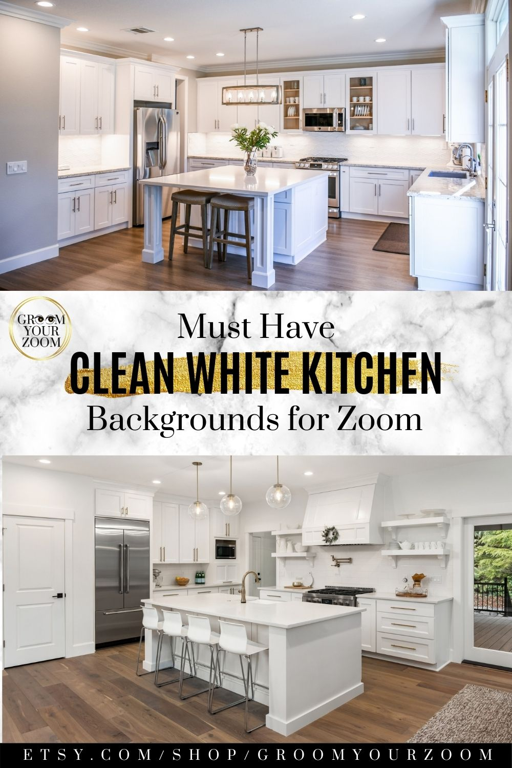 Kitchen I Zoom Background 4 Virtual Backgrounds For Video Call Home Living Stock Photo Digital Download White Kitchen Kitchen Background Home