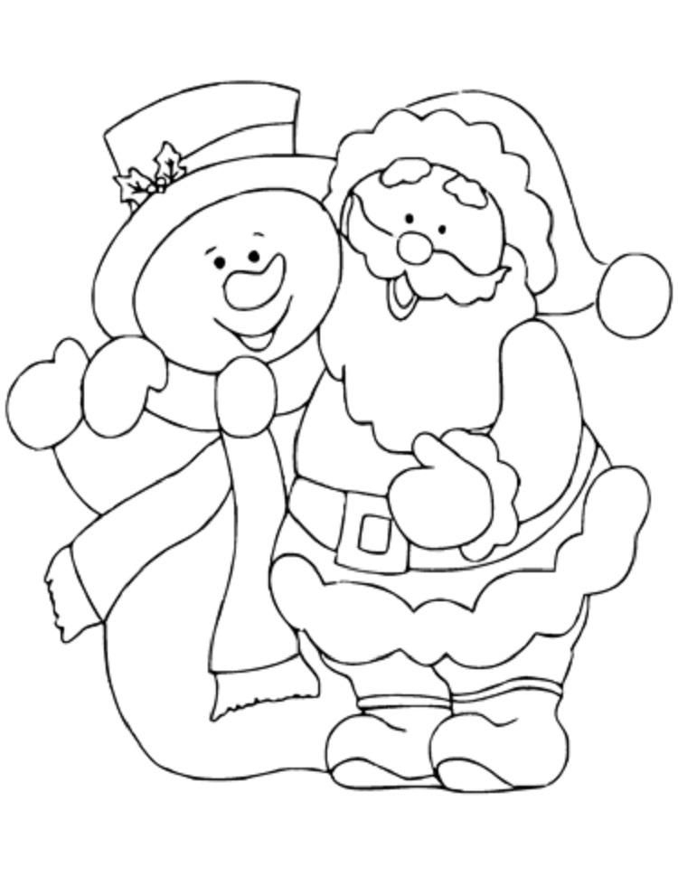 Santa Snowman Coloring Pages Santa Coloring Pages Christmas