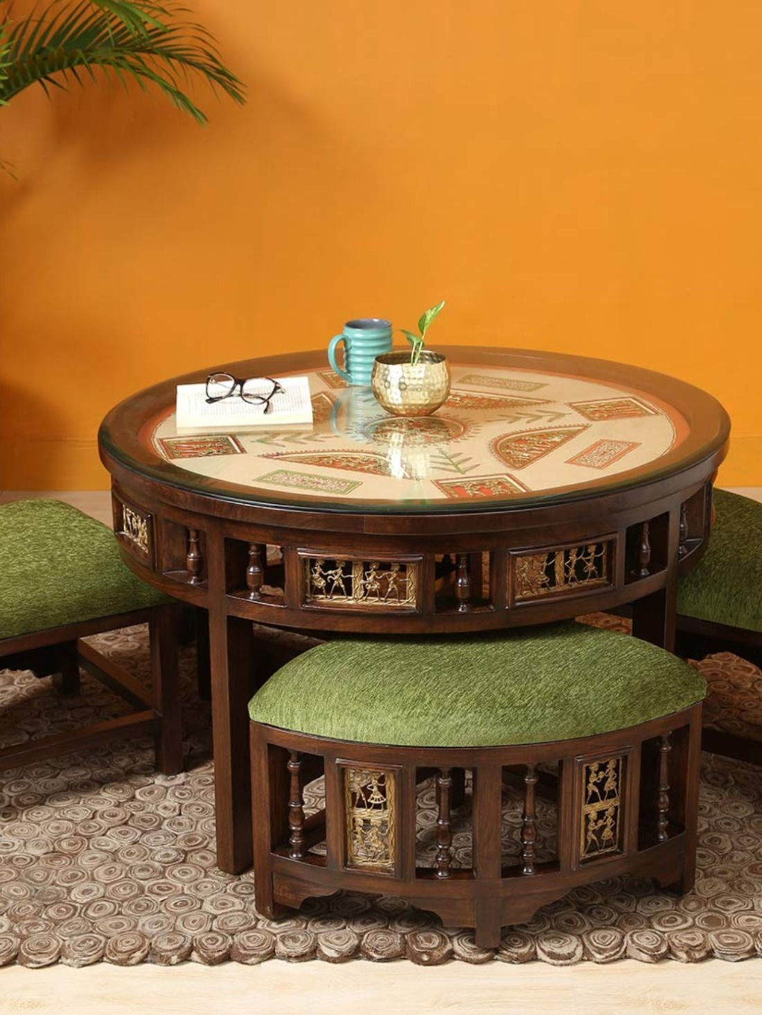 Aakriti Art Creations Round Centre Table With Four Puffies For Living Room Table Glass Top Table Elegant Living Room [ 1466 x 1100 Pixel ]
