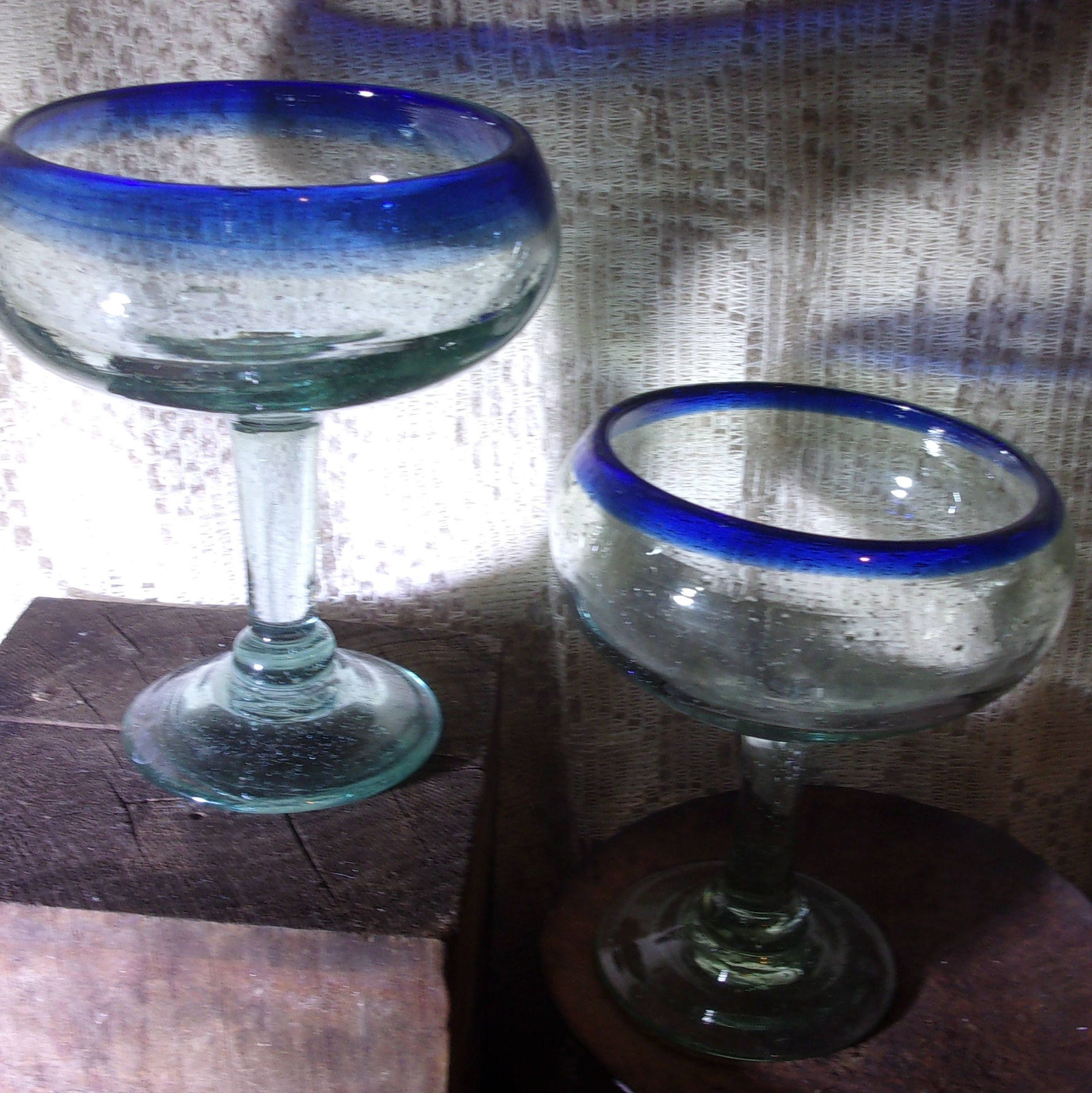 2 Margarita Glasses Mexican Hand Blown Glass Cobalt Blue Rim Lightly Tinted By Jackisjustvintage On Etsy Margarita Glasses Hand Blown Glass Glass Blowing