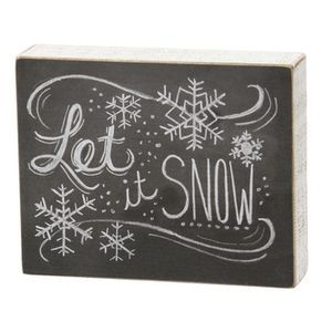 Typography Box Sign-Let it Snow