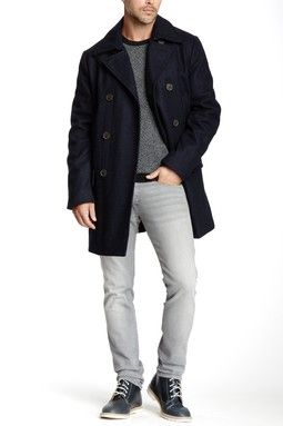 fb361c0b Dockers Double Breasted Wool Blend Reefer Peacoat Guy Gifts, Men's Coats,  Prince Charming,