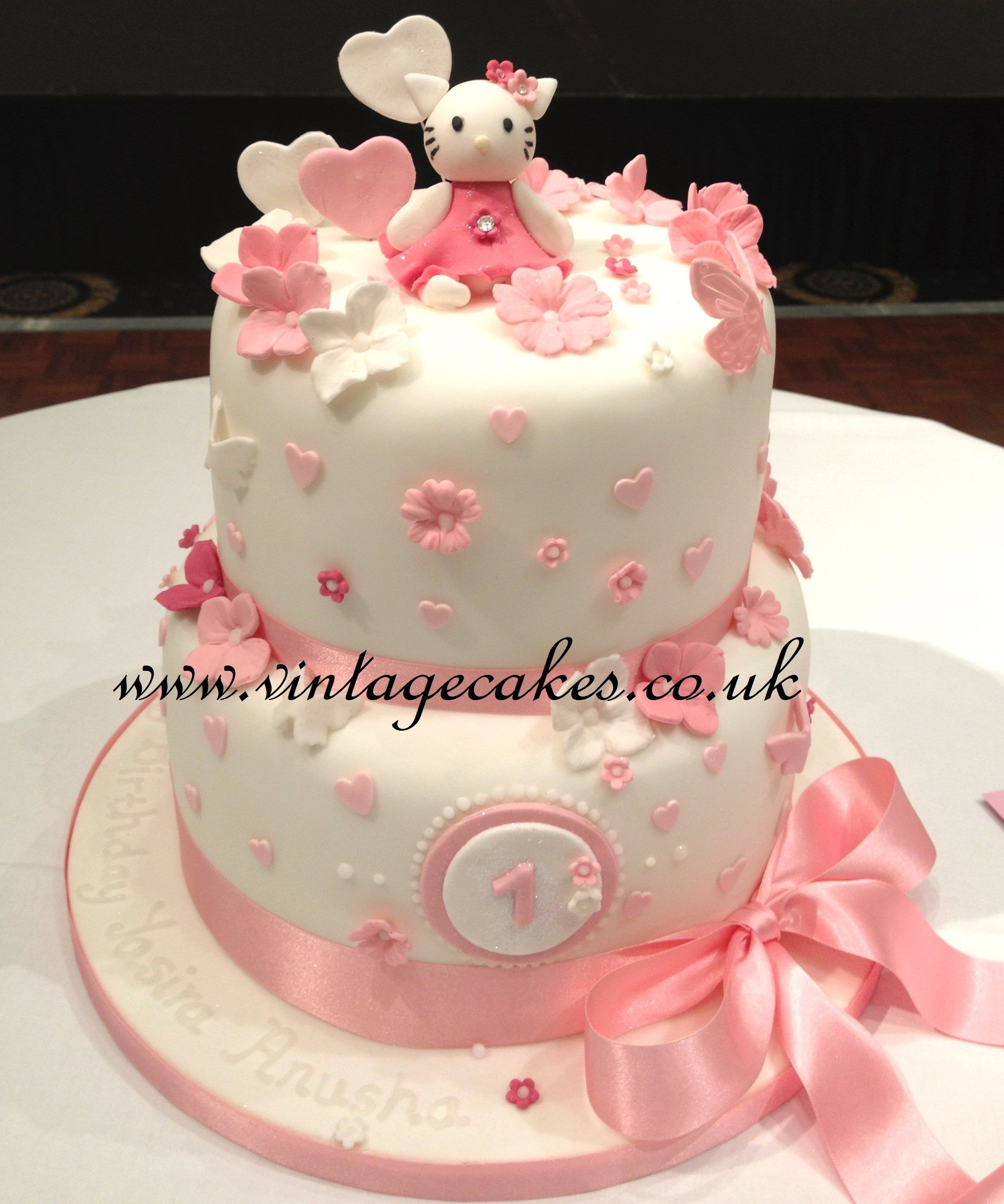 Hello Kitty Inspired 1st Birthday Cake Flavours Were Black Forest And Vanilla
