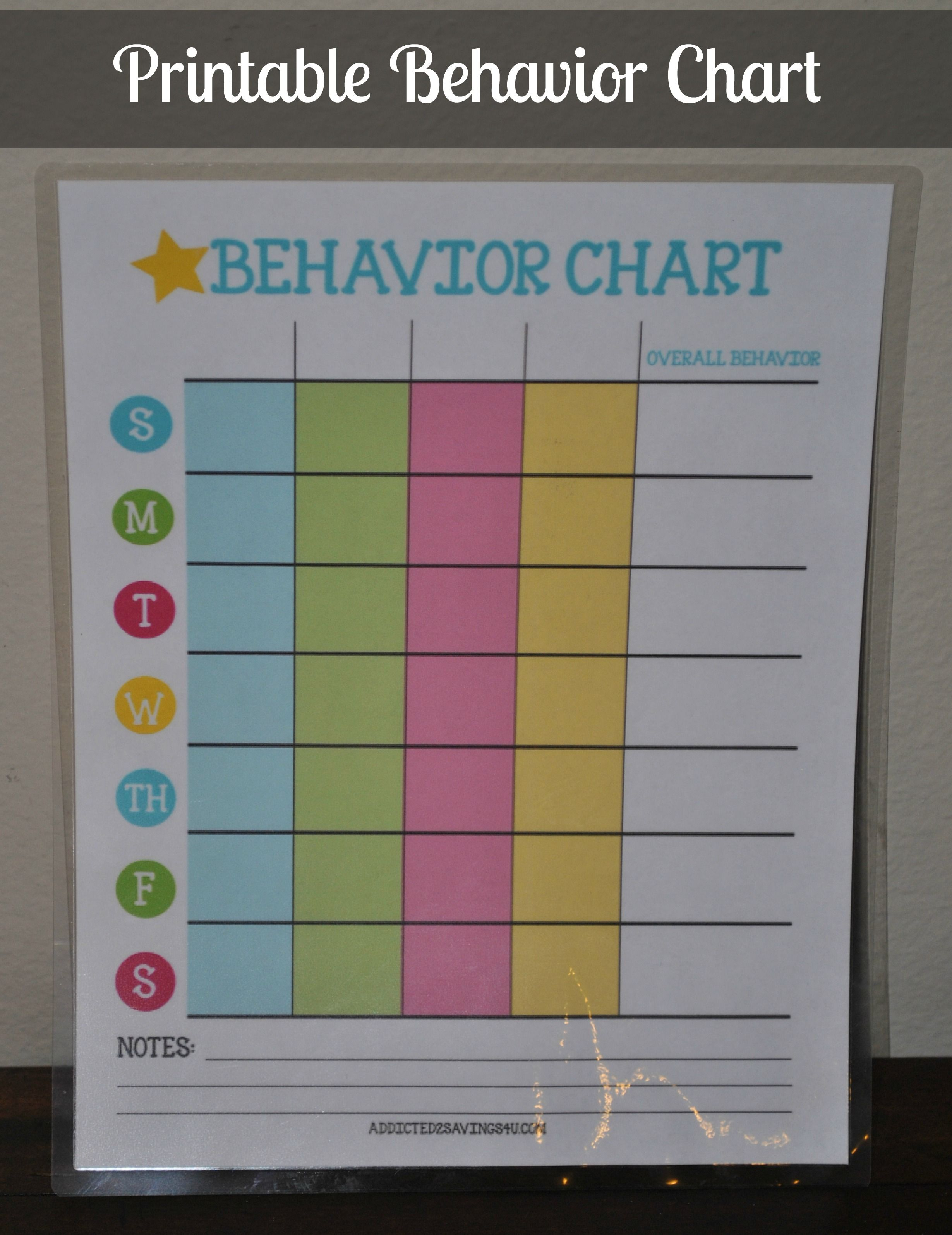 Printable Behavior Chart  Behaviour Chart