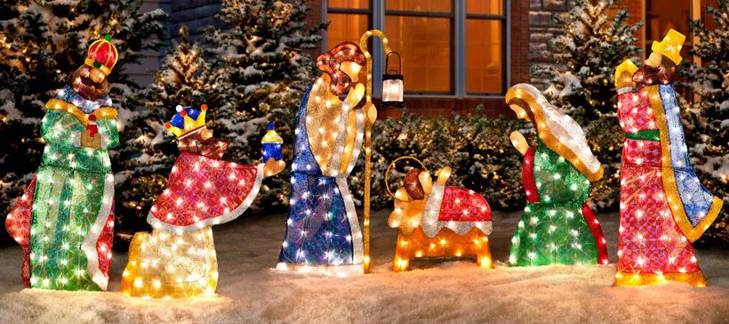 shimmering outdoor nativity scene