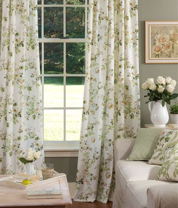 This in the white with pink roses would be beautiful in a for Cottage style curtain ideas